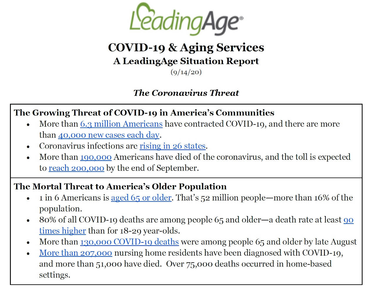 Leading Age Stats